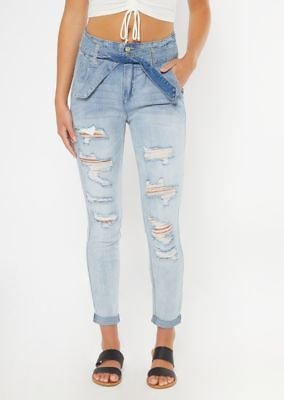 Light Wash Ripped High Waisted Paperbag Jeggings