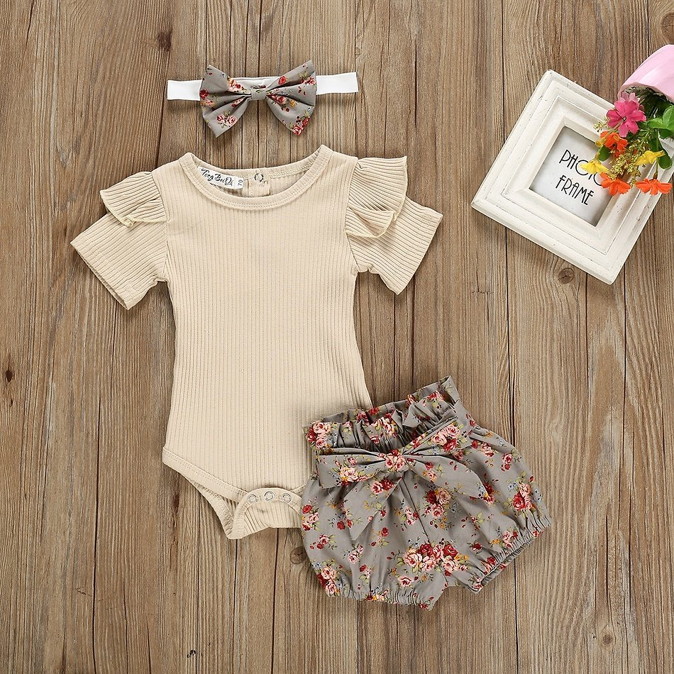3-piece Baby / Toddler Solid Shoulder Ruffled Bodysuit and Floral Shorts with Headband Set