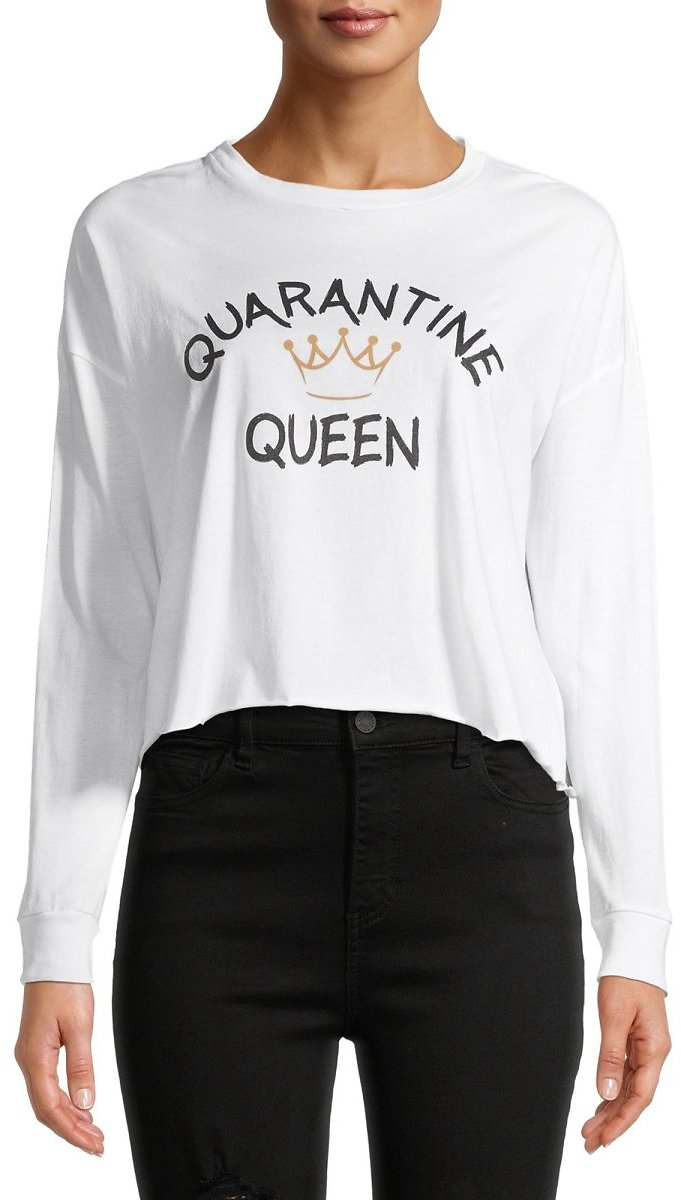 Rebel Sky Juniors' Quarantine Queen Cropped Graphic T-Shirt with Long Sleeves