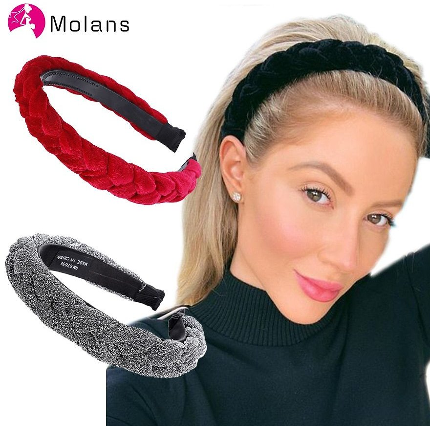 US $4.64 |MOLANS Hair Accessories Wide Shiny Weaving Hairbands Braided Headband Hair Hoop Fashion Hair Bands Bezel Headdress|Women's Hair Accessories| - AliExpress