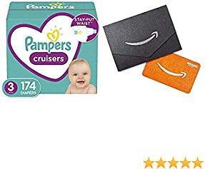 Pampers Cruisers Disposable Baby Diapers - Size 3, 174 Count, ONE Month Supply (Packaging May Vary) + $10 Amazon.com Gift Card