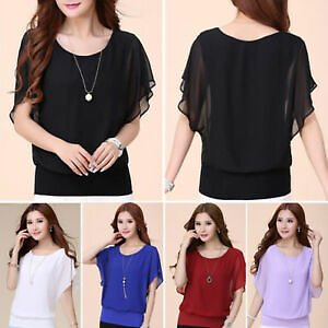 Fashion Womens Summer Loose T Shirt Short Sleeve Chiffon Tops Shirt Lady Blouse