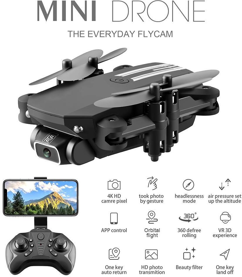 US $28.02 30% OFF|2020 New Mini Drone 4K 1080P HD Camera WiFi Fpv Air Pressure Altitude Hold Black And Gray Foldable Quadcopter RC Drone Toy|RC Airplanes| - AliExpress