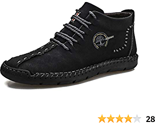 Dacomfy Mens Ankle Boots Casual Chukka Boots Slip-On Loafer Shoes Hand Stitching Leather Lace-up Outdoor Driving Shoes Flats Oxford Shoes