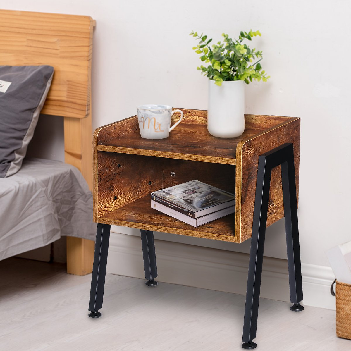 Industrial Nightstand End Table Stackable Side Table Night Stands for Bedrooms Cabinet for Storage Sofa Bed Side Table for Small