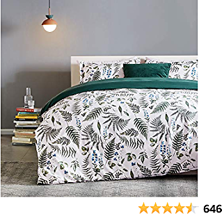 SLEEP ZONE Bedding Duvet Cover Sets Printed Pattern Tropical Plants 120gsm 1 Pillowcase Ultra Soft Zipper Closure Corner Ties, Green, Twin