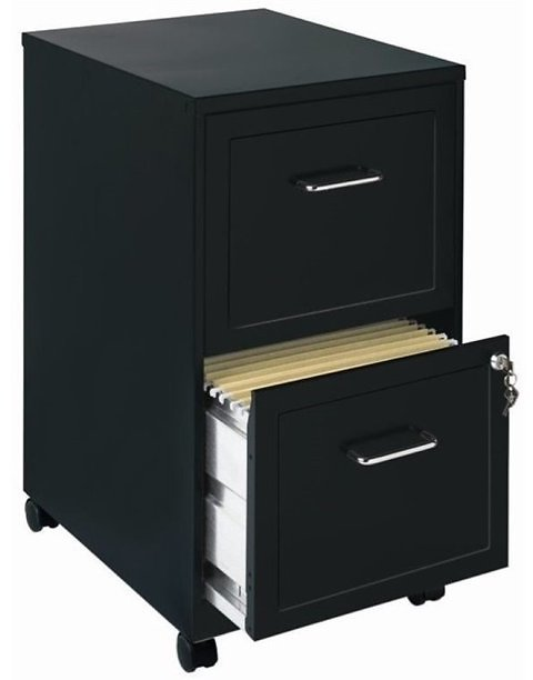 Pemberly Row 2 Drawer Mobile File Cabinet in Black