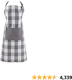 DII 5094 Buffalo Check Kitchen Collection, Apron, Gray & White