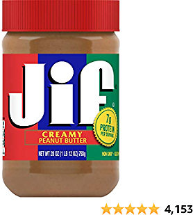 Jif Creamy Peanut Butter, 28 Ounces, 7g (7% DV) of Protein Per Serving, Smooth, Creamy Texture, No Stir Peanut Butter
