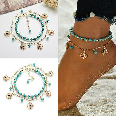 Anklet Beach Turquoise Beaded Ankle Bracelet Jewelry Foot Chain Boho Fashion
