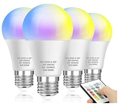4-pack Mlambert Color Changing Light Bulb, Dimmable LED Color Light Bulb with A19 E26 Screw Base, RGBW & Daylight White, 60W Eq