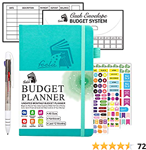 Budget Planner, 2020-2021 Monthly Undated Bill Organizer Hardcover Financial Journal, Feela Money Expense Tracker with Budget Envelopes, Stickers, 1 Pen, User Manual, A5, Last 12 Months, Turquoise