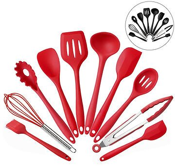 10PCS Silicone Kitchen Utensils Kitchenware Set Tableware Cooking Tools with Non-Stick Cookware Pan Scoops Kitchen,Dining & Bar from Home and Garden on Banggood.com