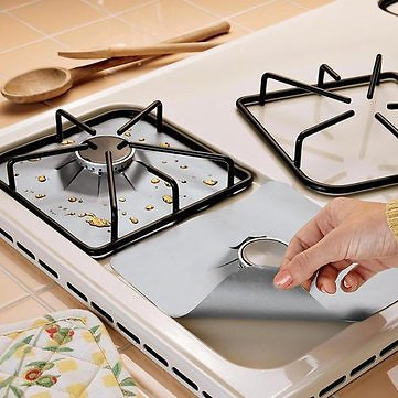 Honana RP11 4Pcs Reusable Silver Gas Range Protector Liner Non Stick Gas Hob Stove Top  Kitchen,Dining & Bar from Home and Garden on Banggood.com