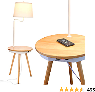 Brightech Owen - End Table with Lamp for Living Rooms, Wireless Charging Station & USB Ports Built in - Wood Nightstand/Side Table & LED Reading Light Attached for Bedrooms - Mid Century Modern