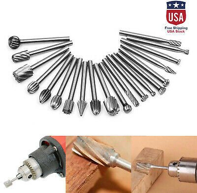 Drill Bits Tool For Dremel Set 20 Pcs Steel Rotary Burrs High Speed Wood Carving 750875652070