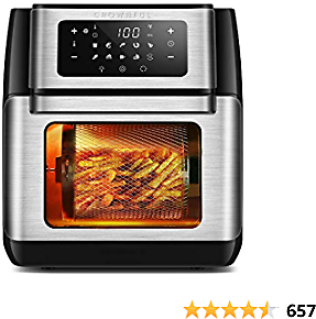 CROWNFUL 9-in-1 Air Fryer Toaster Oven, Convection Roaster with Rotisserie & Dehydrator, 10.6 Quart, Digital LCD Touch Screen, Accessories and Recipe Included