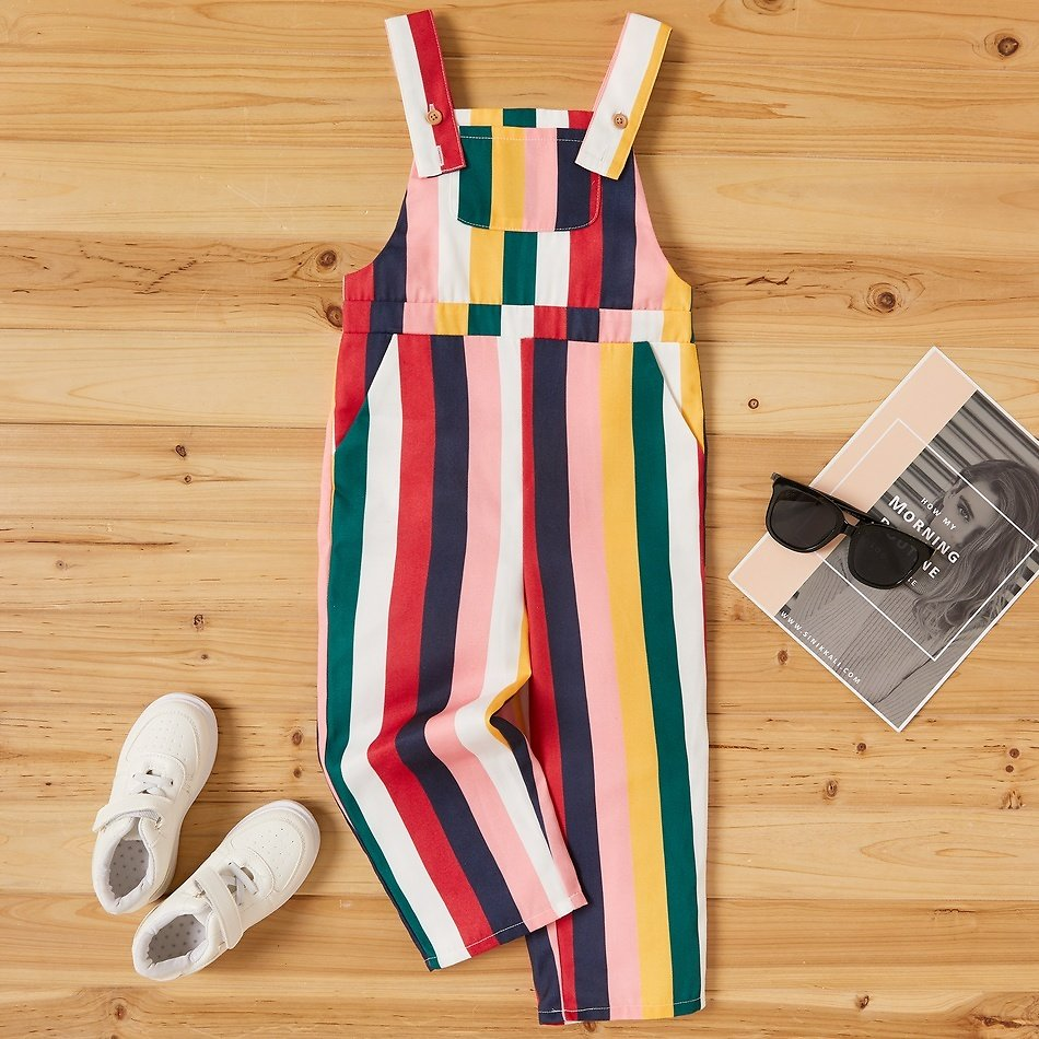Kid Unisex Striped Overalls