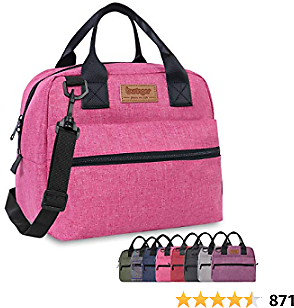 Buringer Insulated Lunch Bag Box Cooler Totes Handbag with Pockets and Removable Adjustable Shoulder Strap For Man Woman Work Shopping (Pink with Shoulder Strap)
