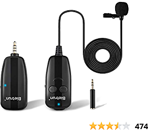 Wireless Lavalier Lapel Microphone, New Upgrade, Portable Rechargeable UHF Wireless Lav Mic System, 65 Ft Range, 1/8