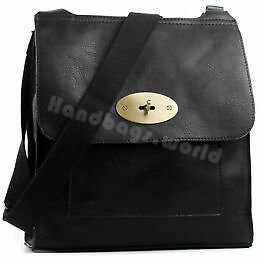 Ladies Faux Leather Cross Body Bag Designer Handbag Shoulder Bag TurnLock Bag