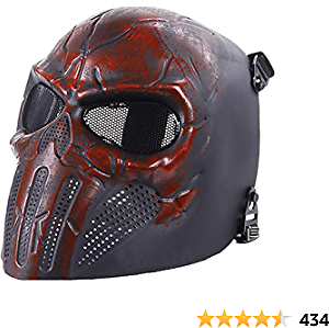 Airsoft Skull Masks Full Face - Scary Halloween Ghost Mask - Tactical Mask Skeleton with Metal Mesh Eye Protection - Horror Zombie Mask for BB Cs War Game Shooting Masquerade Cosplay Movie Props Party