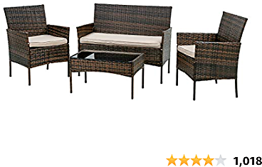 FDW Patio Furniture Set 4 Pieces Outdoor Rattan Chair Wicker Sofa Garden Conversation Bistro Sets for Yard (Brown)