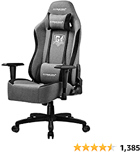 GTRACING Gaming Chair Office Chair High Back Fabric Computer Chair Desk Chair PC Racing Executive Ergonomic Adjustable Swivel Task Chair with Headrest and Lumbar Support (Gray)