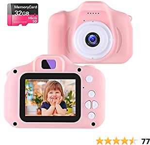 NINE CUBE Kids Camera Digital Camera for 3-10 Year Old Girls,Toddler Toys Video Recorder 1080P 2 Inch,Children Camera Birthday Festival Gift for 3 4 5 6 7 8 9 Year Old Boys(32G SD Card Included)