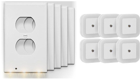 5-Pack Above Edge OCL5 Outlet Cover Plates with Light Sensor and 3-LED Nightlight Plus 6-Pack Plug-In LED Sensor Nightlight
