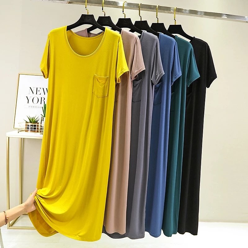 2020 Women Summer Dress Casual O-neck Short Sleeve Beach Modal Cotton Long Black Night Dress Vestido De Verano Frocks for Women