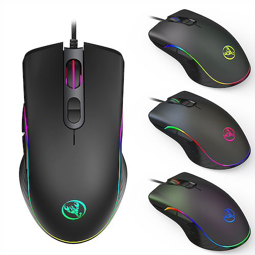 XSJ A867 Wired Gaming Mouse 7 Buttons Four-speed 6400DPI Optical RGB Backlit and Ergonomics Design For Computer Laptop Game
