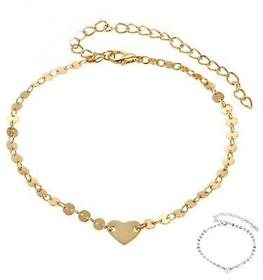 Beads Heart Ankle Gold Foot Bracelet Jewelry Chain Beach Barefoot Anklet
