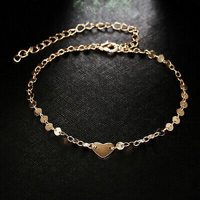 Ankle Heart Chain Gold Anklet Beads Beach Foot Jewelry Barefoot Bracelet