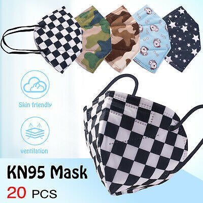 [20 PACK] 5 Layer Filtering KN95 Face Mask PM2.5 Disposable Mouth & Nose Cover