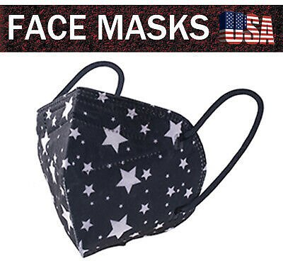 New 20PCS Black With Star KN95 Face Mask 5-Layer Protective Mask Cover USA Stock