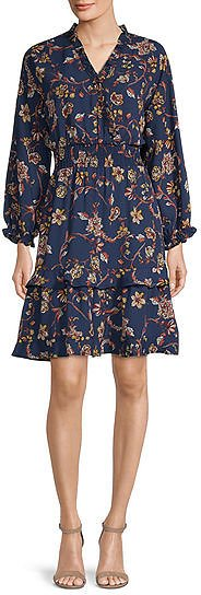 Emma And Michele Long Sleeve Floral Fit & Flare Dress
