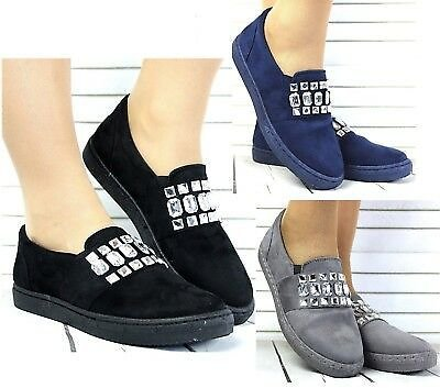NEW LADIES FLAT CASUAL WIDE FIT TRAINERS SLIP ON LOAFERS SHOES PUMPS SIZE 3-8
