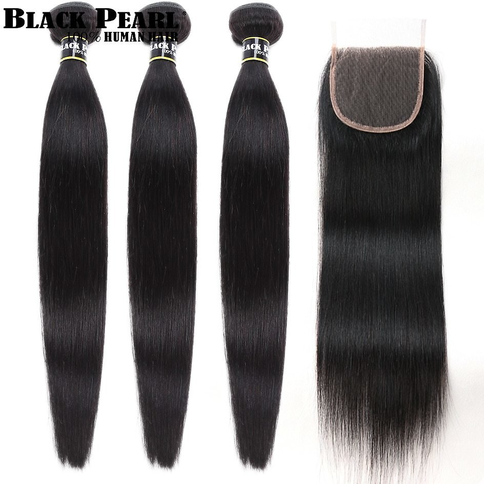 30 32 34 Inch Peruvian Hair Bundles With Closure 4pc/lot Straight Human Hair 3 Bundles with Closure Human Hair Weave