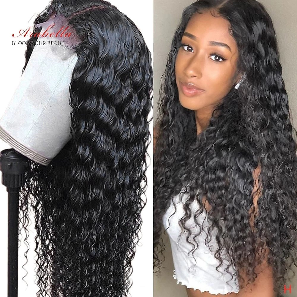 Brazilian Water Wave Lace Wig With Baby Hair Arabella 180 Density PrePlucked For Women Remy Human Hair Wigs 4X4 Lace Closure Wig
