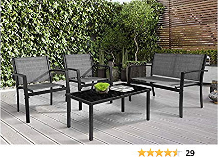 Greesum GS-CS4GY 4 Pieces Patio Set Furniture, Gray
