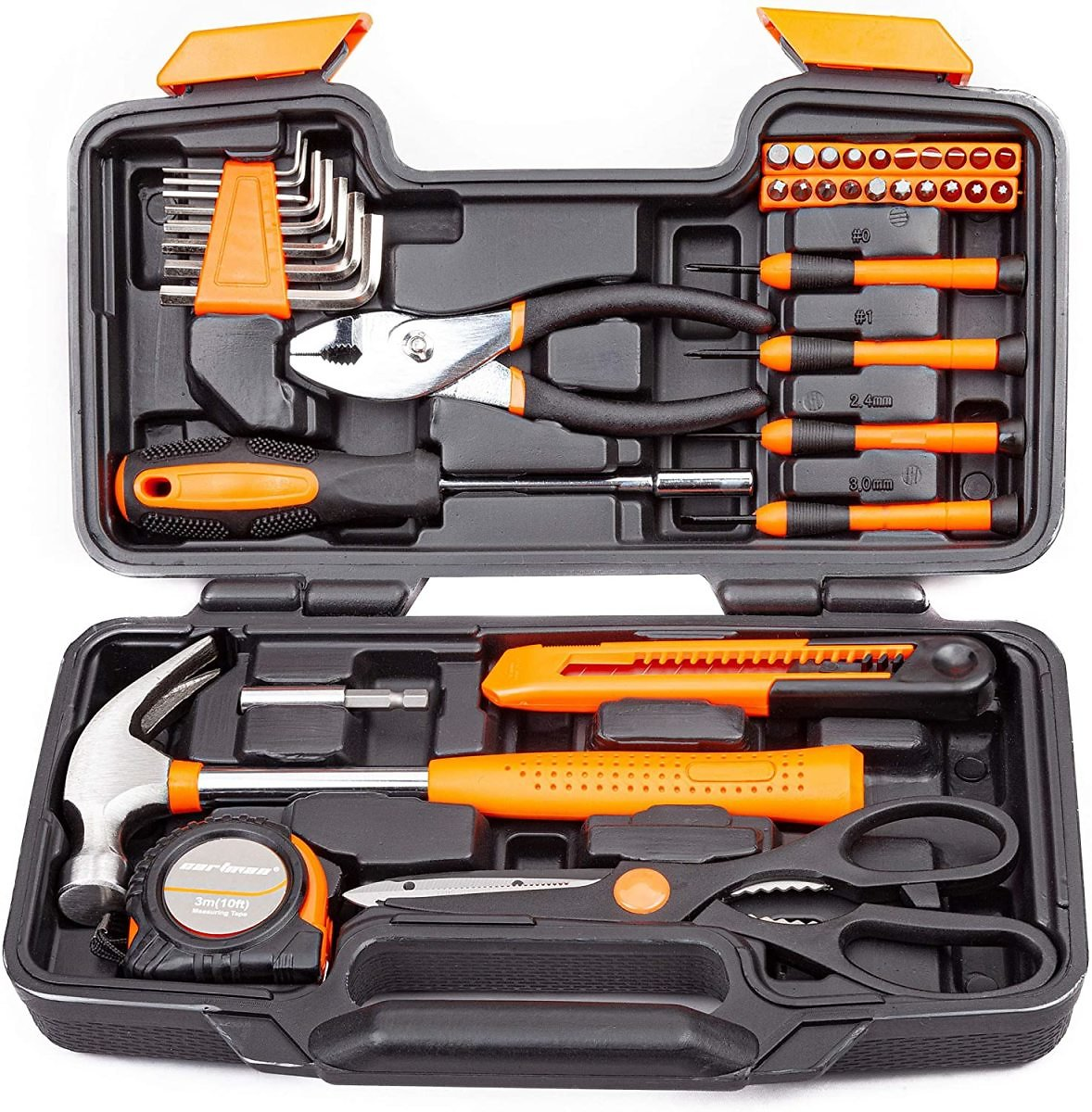 Zimtown 39-Piece Home Use Hand Tool Set, General Household Hand Tool Kit, with Plastic Toolbox Storage Case, Orange