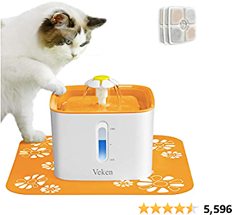Veken Cat Water Fountain, 2.5L Automatic Pet Water Fountain Dog Water Dispenser with 3 Replacement Filters 1 Silicone Mat for Cats and Small to Medium Dogs