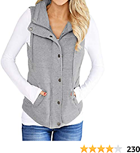 Valphsio Womens Casual Quilted Puffer Vest Lightweight Zip Up Drawstring Jacket Outerwear with Pockets