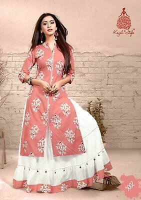 Indian Kurta with Bottom Skirt Kurti Dress Set Women Designer Ethnic Top Tunic S