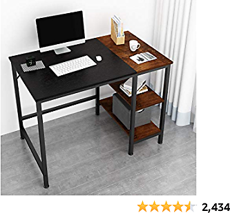 JOISCOPE Home Office Computer Desk,Small Study Writing Desk with 2-Tier Wooden Storage Shelves, Mordern Sturdy Laptop Table with Splice Board,40 Inches,(Black Oak Finish)