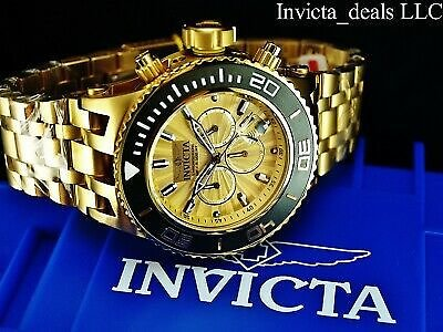 NEW Invicta Men's 52mm Subaqua Chronograph 18K Gold Plated Stainless Steel Watch 886678290901