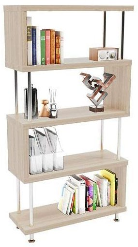 Z-Shaped 5-Tier Wooden Etagere Bookshelf