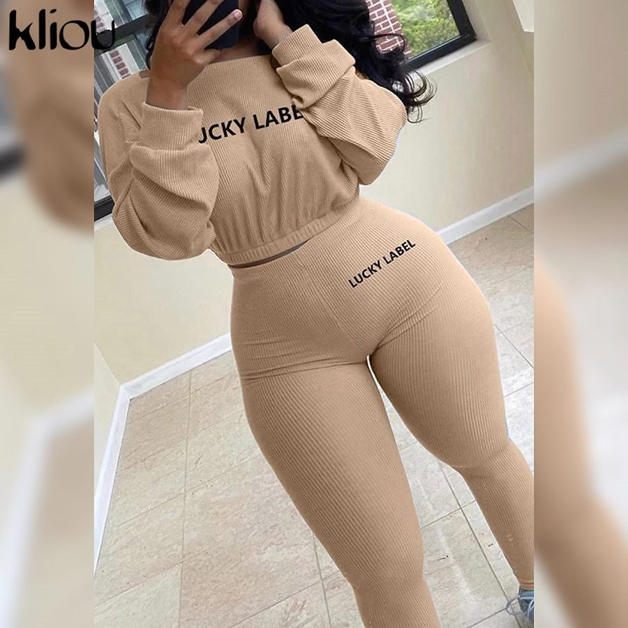 Kliou Autumn Solid Letter Embroidery Two Piece Sets Women Basic Sweatshirt+Leggings Casual Sporty Tracksuits Female Hot Corduroy