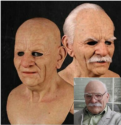 Old Man Mask Halloween Cosplay Latex 3D Full Face Mask Headgear Masquerade Party